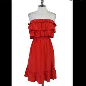 Rebecca Taylor Silk Strapless Ruffle Dress